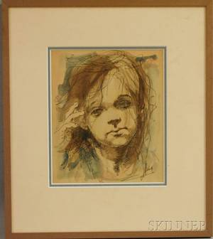 Conger A Metcalf American 19141998 Portrait of a Young Girl