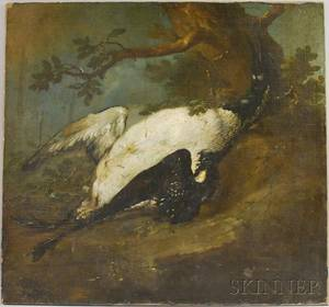 Dutch School 18th Century Dead Loon or Goose in a Landscape Setting