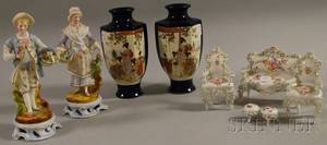 Pair of French Bisque Figures a Fivepiece Dresden Miniature Porcelain Suite of Parlor Furniture and a Pair of Japanese Satsuma Va