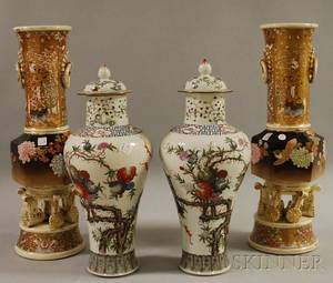 Pair of Chinese Ceramic Covered Jars and a Pair of Japanese Pottery Vases