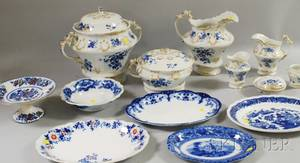 Sevenpiece English Gilt and Transferdecorated Madeley Pattern Ceramic Chamber Set and Six Pieces of Assorted Mostly Flow Blue Tablew