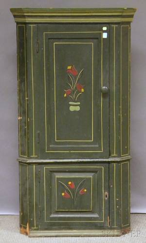 Small Polychrome Painted Wood Corner Cupboard with Two Paneled Doors