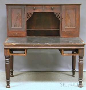 Late Empire Mahogany Veneer Plantation Desk