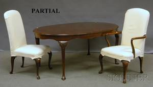 Set of Ten Henredon Queen Annestyle Upholstered Tallback Carved Mahogany Dining Chairs and a Kindel Queen Annestyle Oval Carved M