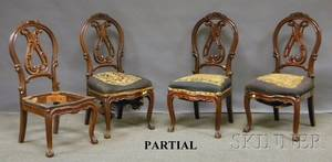 Set of Six Victorian Rococo Revival Carved Walnut Parlor Side Chairs