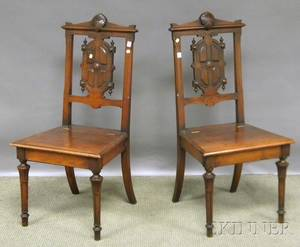 Pair of Victorian Renaissance Revival Carved Walnut Liftseat Hall Chairs