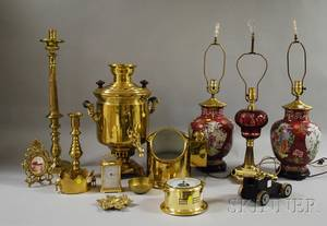 Group of Decorative Brass Items and Three Table Lamps