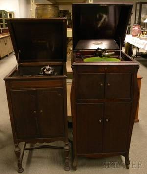 Two Victor Talking Machine Co Victrola Mahogany Veneer Floor Standing Record Players