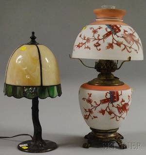 Victorian Italian Renaissancestyle Transferdecorated and Painted Opaque Glass Kerosene Table Lamp and Slag Glass and Patinated Bronze