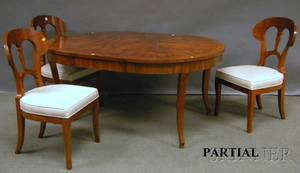 Biedermeierstyle Circular Inlaid Mahogany Dining Table with a Set of Six Upholstered Fruitwood Dining Chairs