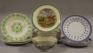 Set of Twelve CopelandSpode Herring Hunt Scene Plates and Eight Pieces of Assorted Decorated Ceramic Tableware