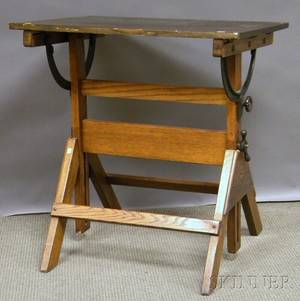 Poplar and Oak Adjustable Drafting Table