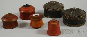 Four Small Treen Containers with Covers and a Pair of Small Brassmounted Pressed Tin Containers with Covers