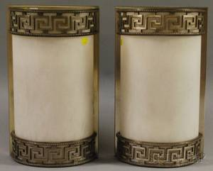 Pair of Metal Greek Key and Alabaster Demilune Wall Sconces