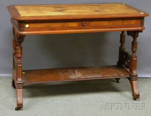 Victorian Renaissance Revival Carved Walnut Onedrawer Library Table