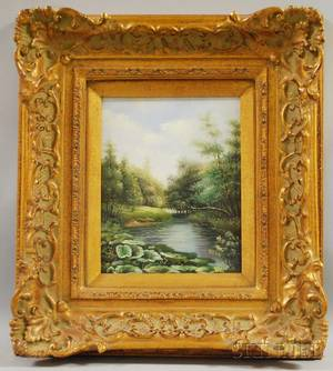 20th Century American School Oil on Board Landscape with Pond