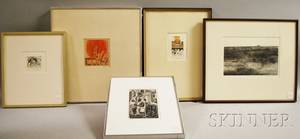 Five Framed Works on Paper Brigitte Coudrain French b 1934 Lot and His Daughters in the Desert