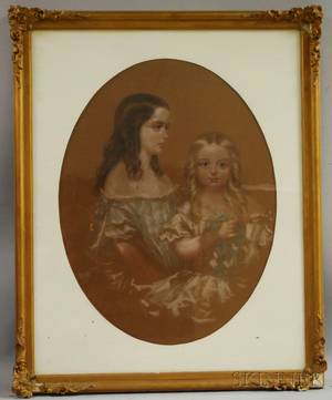 American School 19th Century Portrait of Two Sisters