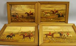 British School 20th Century Suite of Four Primitive Hunting Scenes in the Manner of Henry Thomas Alken British 17851851