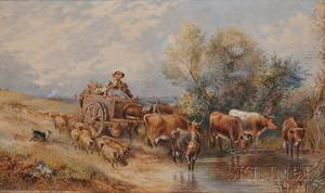 Attributed to Myles Birket Foster British 18251899 Heading to Market