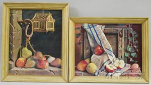 Pair of Framed Decorative Still Life with Fruit Mechanical Prints