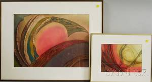 Continental School 20th Century Two Framed Abstract Watercolors