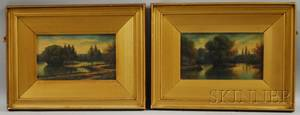 Pair of Framed Oil on Board Lake View Landscapes
