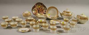 Thirtyfourpiece English Gilt and Handpainted Porcelain Partial Tea Service a Derby Imaripalette Shrimp Dish and a Small Richar