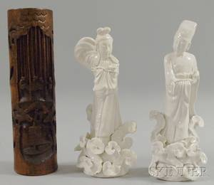 Chinese Bamboo Vase and a Pair of Blanc de Chine Ceramic Figures