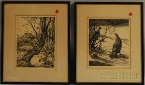Two Sporting Prints Aiden Lassell Ripley 18961969 Ruffed Grouse in Winter
