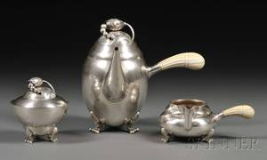 Georg Jensen Blossom Pattern Threepiece Sterling Tea Set