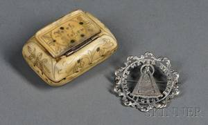 Horn Snuff Box and Austrian Silver Pin