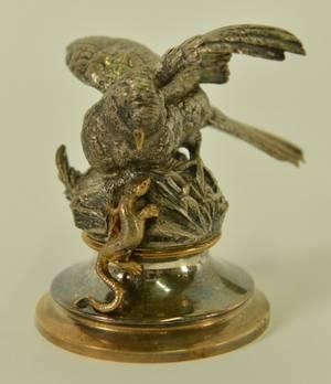 Cast Bronze Bird  Lizard Sculpture Signed