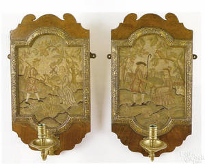 Pair of English Queen Anne mahogany sconces 18th c