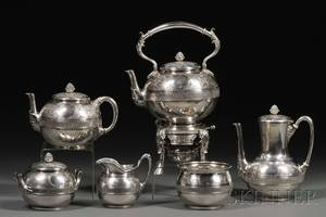 Fine Sixpiece Early Tiffany  Co Sterling Tea and Coffee Service