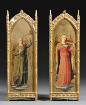 Pair of Italian Grand Tour Paintings of Gilded Angel Musicians