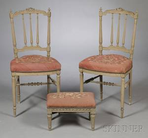 Two Diminutive Graypainted Side Chairs and a Similar Footstool