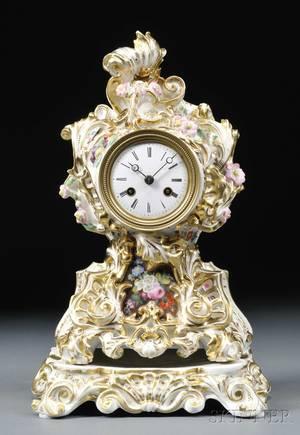Baroquestyle Paris Porcelain Mantel Clock and Stand