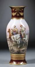 German Porcelain Vase with Handpainted Scene of Bedouins