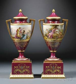 Pair of Vienna Porcelain Mantel Vases and Covers
