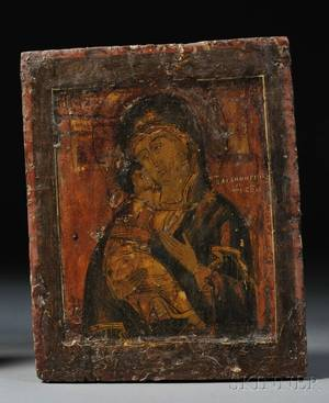 Russian Icon Depicting Vladimir Mother of God