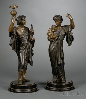 Pair of French Bronze Allegorical Figures