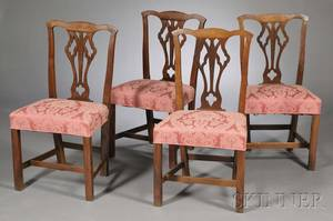 Set of Four Country Chippendale Elm and Oak Side Chairs