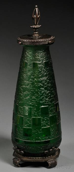 Daum Nancy Art Deco Wrought Ironmounted Emerald Green Glass Lamp Base