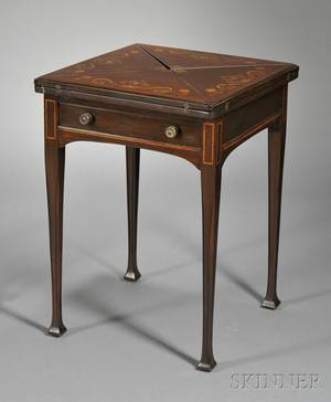 Art Nouveau Fruitwood and Motherofpearlinlaid Handkerchief Game Table