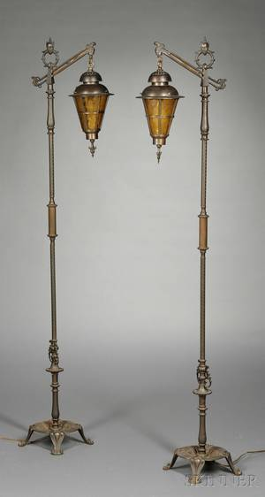 Pair of Chinoiserie Bronze Floor Lamps