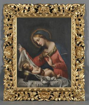 Continental School 19th Century Madonna and Child A Copy in the Manner of Correggio