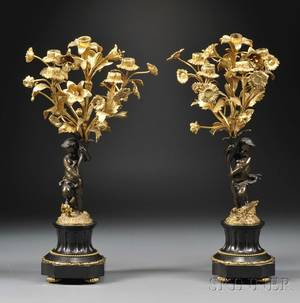 Pair of Figural Bronze Fivelight Candelabra