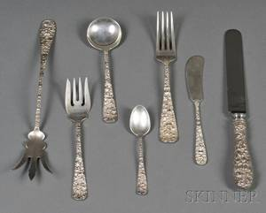 Stieff Rose Pattern Sterling Partial Flatware Service for Six