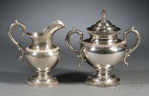 English Greek Revivalstyle Sterling Creamer and Covered Sugar Bowl